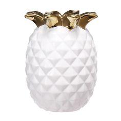 "D4.5x5.5"" Pineapple Vase, White Accessories Store, Decorative Accessories, Pineapple Vase, Gold Top, Ceramic Vase, Home Decor Items, Take That, Pottery, Ceramics"