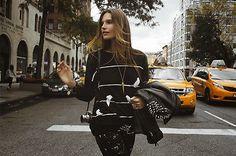 Zara New 2013 Collection Black Bird Print Oversize Jacquard Sweater