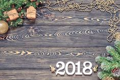 Wooden Background New Year 2018