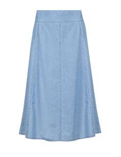 Denim Chambray A-Line Skirt