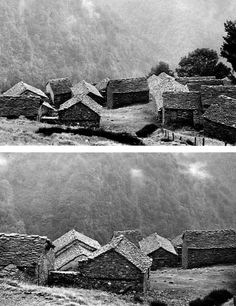 VERNACULAR STRUCTURES: TYPICAL STONE STRUCTURES FOUND IN ALPINE ITALY, SWITZERLAND, AND FRANCE, USED AS STABLES AND SHELTERS FOR SHEPHERDS &...