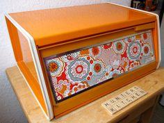 Orange vintage bread box floral print 70s Dutch by HuntersKitchen