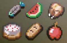 Minecraft Food Items (Perler Fused Beads) Chicken, Fish, Bread, Apple, and Cake Minecraft Beads, Minecraft Food, Minecraft Perler, Minecraft Crafts, Perler Bead Designs, Perler Bead Art, Pixel Art, Peler Beads, Minecraft Birthday Party
