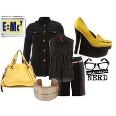 """Math Nerd"" created by #the-house-of-kasin, #polyvore #fashion #style #Lanvin H&M Jeffrey Campbell Chloé military jackets #bows leather shorts"