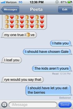 Image Detail for - Katniss' text message confession to Peeta   Hunger Games Fandom