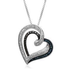 "1/10 CT TW Sim Multi Diamond Sterling Silver Heart Pendant 18"" Chain Necklace #jewelsbyeanda #HeartPendant #ValentinesDay"