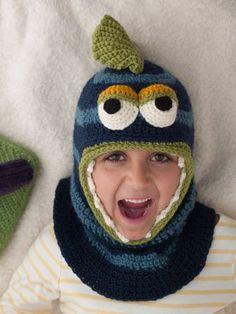 So cute and such a warm crochet hat. Nessie Balaclava Close