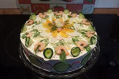 Festliche Sandwichtorte 1 Sandwich Torte, Party Buffet, Easy Cocktails, Snacks Für Party, Egg Rolls, Sushi, Sandwiches, Brunch, Food And Drink