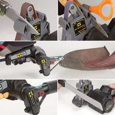 The Work Sharp Knife & Tool Sharpener is designed to sharpen every knife you own. Using flexible abrasive belts, the sharpener is able to sharpen straight bladed knives, curved knives, tanto blades, filet knives, serrated knives, gut hooks and virtually any other shape of knife blade.