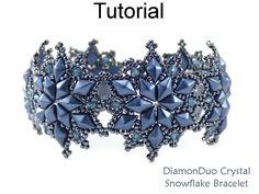 $ $ $  DiamonDuo Crystal Snowflake Winter Holiday Braceket wutg Two Hole Beads Jewelry Making Pattern Tutorial by Simple Bead Patterns | Simple Bead Patterns