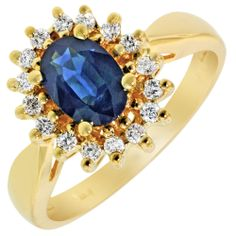 Day's, Sapphire Ring in 14kt Yellow Gold with [18] Diamonds (1/5ct tw) SKU:  RSHD2391 Stone Weight:  1.00 Gender:  Womens Treatment 1:  Heat Treated Treatment 3:  Natural-No Treatment Karat:  14 Metal Type:  Yellow Gold  Retail Price: $1,049.00 Our Price: $699.00