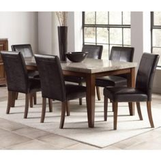 Great Clayton 7 Pc Granite Top Dining Table Set By Steve Silver