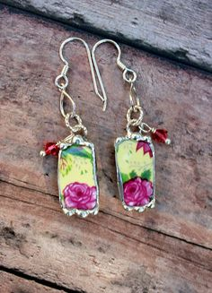 Broken China Jewelry Earrings,Yellow Pink Floral Chintz, Sterling Silver Ear Wires