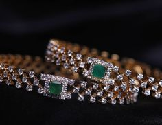 """Simplicity is the ultimate sophistication #Kirtilals #Diamond #Bangles #Emeralds #Gold #Instagram #Insta #Picture"""