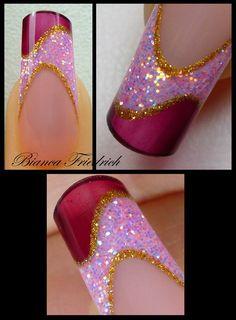 purple gold sparkle nail art