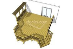 This plan creatively incorporates a x octagon into a large 1 level deck. This design also features an interesting arbor to provide shade which is balanced by an angled stair on the opposite side to open the plan to its surroundings. Outside Living, Outdoor Living, Outdoor Decor, Free Deck Plans, Gazebo, Pergola Patio, Pergola Carport, Small Pergola, Pergola Shade