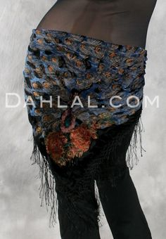 Burnout Velvet Peacock Shawl, with Crocheted Fringe, for Belly Dance - Dahlal Internationale Store