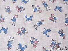 Vintage Feedsack Fabric Boys Girls Dogs Pink Blue Juvenile | eBay