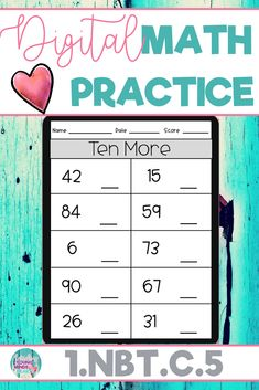 These math practice sheets allow your students to practice and gain mastery of the first grade standard 1.NBT.C.5; 10 More and 10 Less. Created in Google Slides, this resource can be used on a device in the classroom or at home for distance learning. These worksheets can also be used as an assessment tool so that you can move your instruction forward, tailor your students' instruction to their developmental level, provide feedback to students and parents, and use for grading. Click to see more!