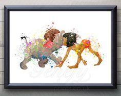 Disney Dschungel Buch Mowgli Aquarell Poster drucken