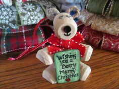 Wine cork Christmas Bear with handpainted sign by theKrazyCrafters, $8.00