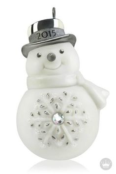 This mini-snowman Hallmark Keepsake Ornament is a great way commemorate 2015. With a charming top hat and jeweled belly, this sweet Christmas tree accessory is the perfect gift idea for friends and family!