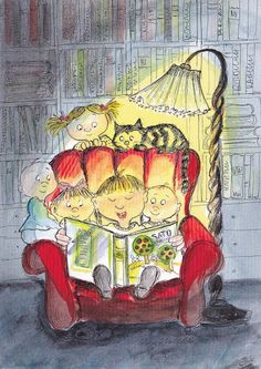 """Story time / Hora del cuento (ilustración de Virpi Pekkalan)::::::: """"The best candy shop a child can be left alone in, is the library. I Love Books, Good Books, Books To Read, My Books, Reading Art, Kids Reading, Reading Stories, Reading Books, World Of Books"""