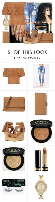 """""""Untitled #198"""" by xgoldenrose ❤ liked on Polyvore featuring Michael Kors, MICHAEL Michael Kors, UGG, Gucci and Ardell"""