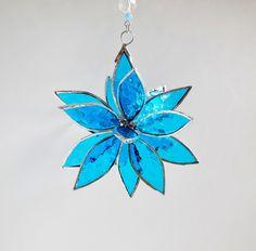 3D Stained Glass Blue Suncatcher. Flower. Flower of Life - Swirl. (40.00 USD) by jacquiesummer