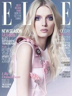 Beautiful and angelic looking British model, Lily Donaldson is featuring on the cover and Photo Shoot for Elle UK Magazine in the August 2015 issue. Lily Donaldson is already a well-known name in the fashion … Fashion Magazine Cover, Fashion Cover, Pink Fashion, Fashion Models, Fashion Beauty, Magazine Covers, Star Fashion, Trendy Fashion, Fashion Trends