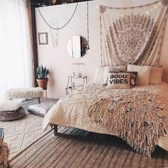 Bohemian Bedroom Decor Ideas - Find out the best ways to master bohemian room decoration with these bohemia-style areas, from eclectic bed rooms to kicked back living rooms. Girls Bedroom, Cozy Bedroom, Bedroom Decor, Bedroom Ideas, Master Bedroom, Bedroom Inspiration, Bedroom Styles, Wall Decor, Teenage Bedrooms