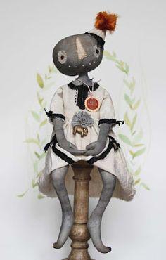 Fil À Sophie my first primitive folk art doll, prims, pumpkin doll, pumpkin, head, rag doll, vintage circus,  harvest, cottage style, vintage inspired, prim doll, grungy