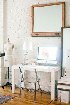 work/craft corner.  i love the mannequin in the corner