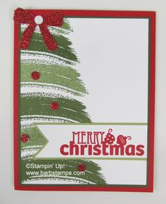 One of the cards from my last Christmas Card Class this year. We used the Work of Art stamp set to create this simple Christmas Tree. I inked the long brushstroke stamp in Mossy Meadow and stamped it at the...