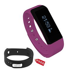 Toprime Wireless Bluetooth Fitness Activity Tracker Pedometer Wristband Watch Band with Sleep Monitor Purple and Black ** Visit the image link more details. (Note:Amazon affiliate link)