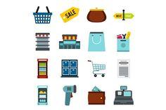 Supermarket icons set, flat ctyle  @creativework247