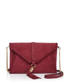MILLY Astor Suede Whipstitch Clutch | Bloomingdale's