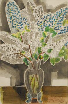 Jean Brusselmans (Belgian, 1884-1953), Vase de lilas, 1947. Watercolour on paper.