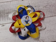 Disney inspired Snow White hair bow looped by SweetPeaBowsBoutique, $5.00