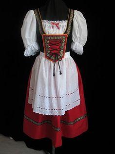 NEW RED BAVARIAN GERMAN OKTOBERFEST DIRNDL DRESS GOWN COSTUME  SIZE 12
