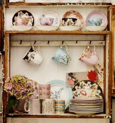 Vintage tea sets and fine china. I have sooo many tea sets I need to display them this way! Vintage China, Vintage Dishes, Vintage Teacups, Vintage Plates, Vintage Kitchen, My Cup Of Tea, Shabby Chic Style, Shabby Vintage, Afternoon Tea