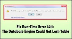 Catch all the essential detail regarding Access Could Not Lock Table error. Learn how to fix run-Time Error 3211: the database engine could not lock table. Error Code, Online Sites, User Interface, Engineering, Running, Learning, Microsoft, Detail, Table