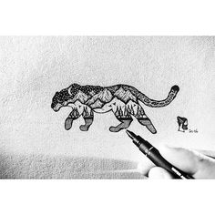 Image result for double exposure snow leopard tattoo