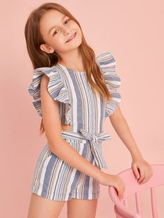 Girls Ruffle Trim Tie Waist Striped Romper - Girls Ruffle Trim Tie Waist Striped Romper – Kidenhouse Source by - Dresses Kids Girl, Cute Girl Outfits, Kids Outfits Girls, Cute Outfits For Kids, Cute Casual Outfits, Summer Clothes For Girls, Clothes For Kids, Kids Girls, Girls Fashion Clothes