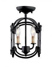 World Imports Hastings Collection 2-Light Rust Semi-Flush Mount Lantern