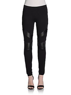 Black Faux Leather Insert Skinny Pants  Leggings Extra 40% Discount @ OffSaks5th $60