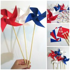 4th of July Decorations 6 Paper Pinwheels DIY Kit Pinwheel Crafting Kit Party Favors Kit Party Decoration Crafting Kit Table Centerpiece