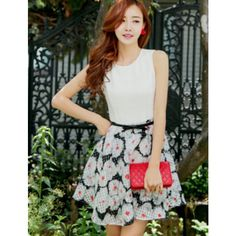 8d7e8aab3f1ee Floral Printed Patchwork Big Hem Sleeveless Women s Chiffon Dress