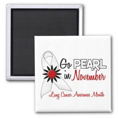 Lung Cancer Ribbon Color   Lung Cancer Awareness Month Pearl Ribbon 1.2 Refrigerator Magnet