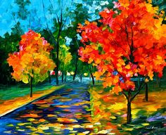 Flame Of Autumn — PALETTE KNIFE Oil Painting On Canvas By Leonid Afremov